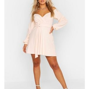 *ORDER SOON!* Belted Faux Wrap Dress (Blush)